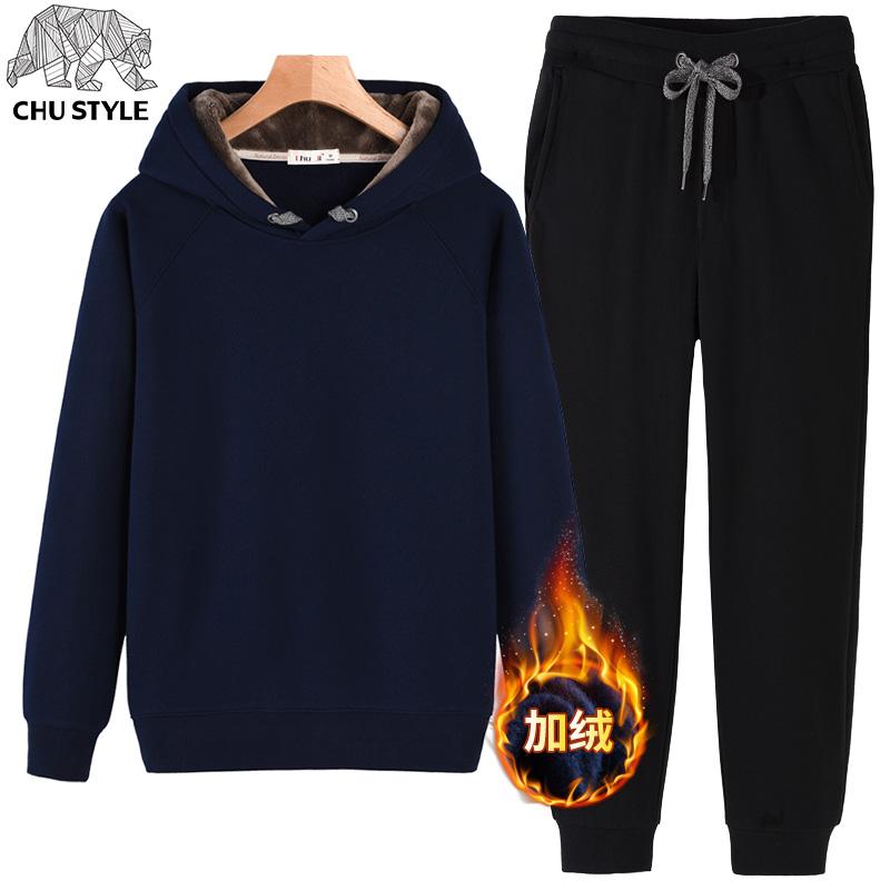 Modis Tambah Beludru Laki-laki Baru Pakaian Musim Dingin Pakaian Musim Kaos Sweater (Biru