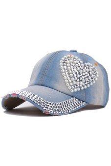 Moonar Wanita Denim Berlian Imitasi Bentuk Jantung Topi BaseballCap (Biru Muda)