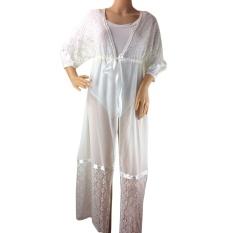 Moonar Women Summer Fashion Lace Sunscreen Bikini Smock Outside Blouse ( white ) - intl