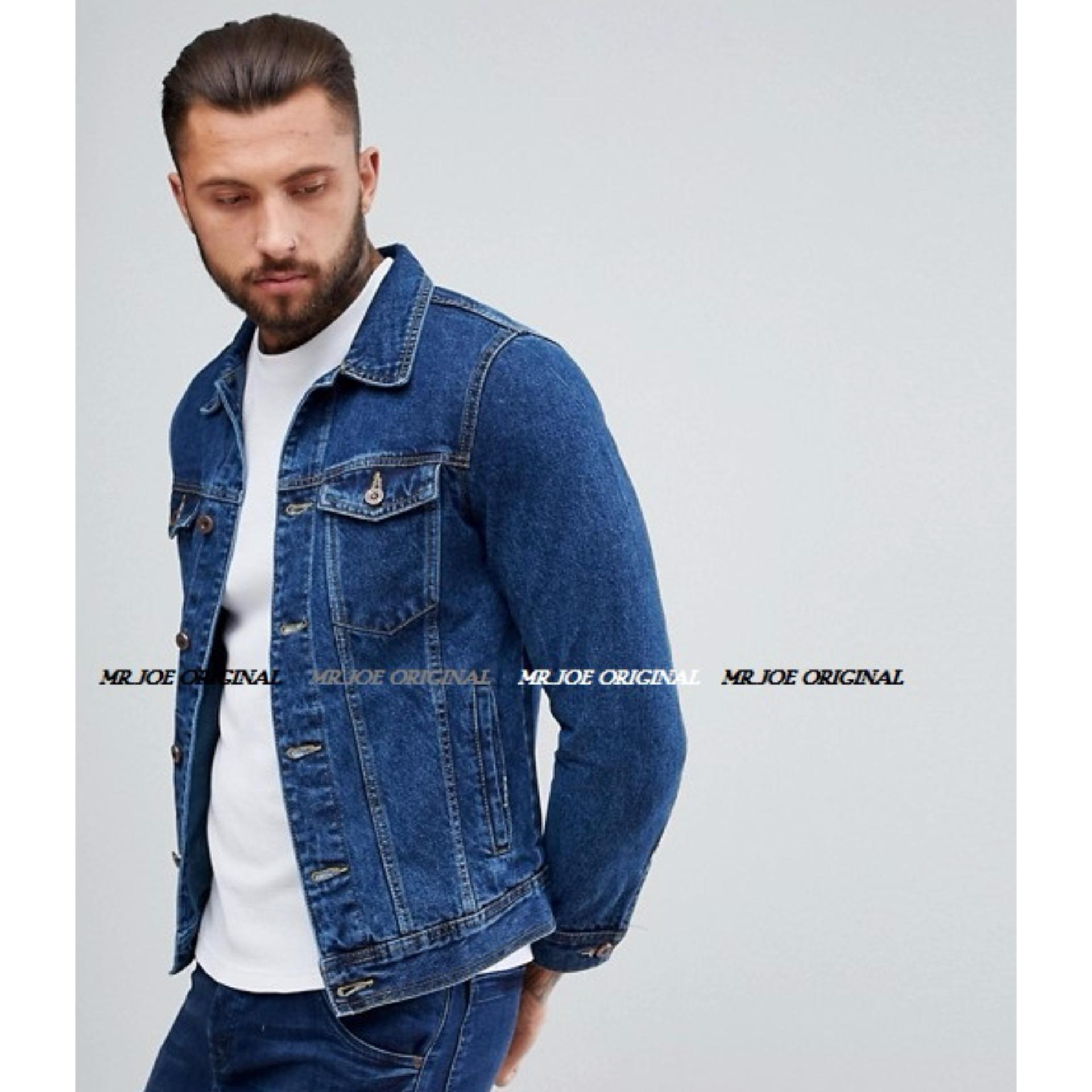 Harga Penawaran Mrj Jaket Denim Pria Premium B Wash Jeans Biru Muda