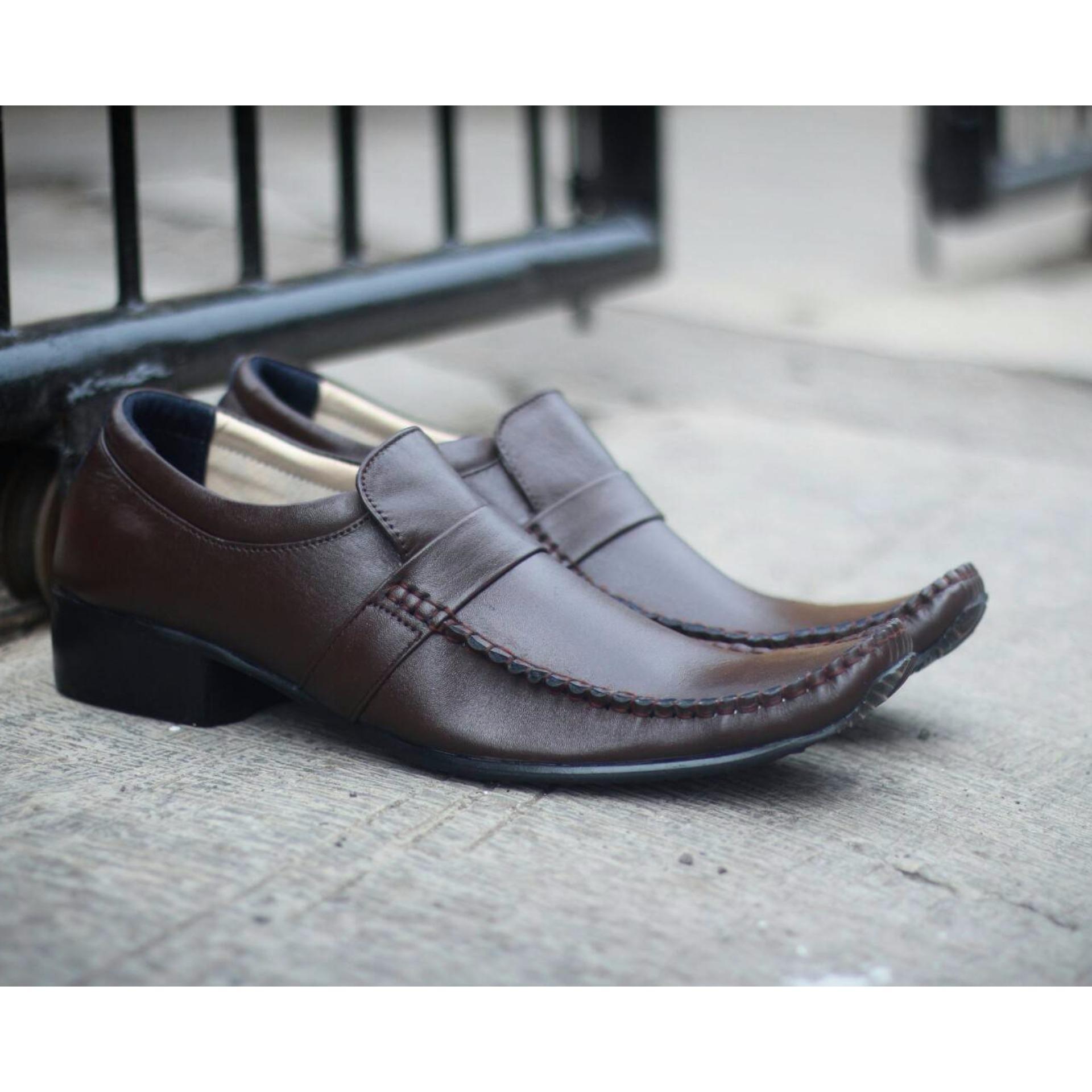 Sepatu Pantopel Kulit Asli Formal Cevany Pantofel Badami Mrj Putih Pria