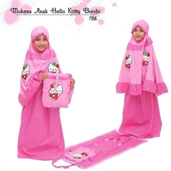 MUKENA ANAK BORDIR HELLO KITTY PINK M