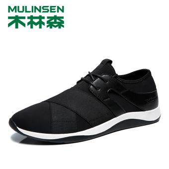 MULINSEN Korea Fashion Style bernapas musim panas sepatu kain sepatu pria (Yu Yue 270212 hitam [Four Seasons kain elastis])