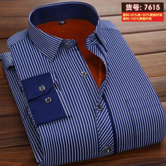 eShop Checker Mulu Korea Fashion Style ditambah beludru laki-laki lengan panjang tebal kemeja hangat