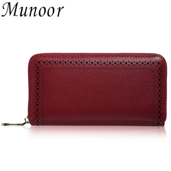 Munoor Genuine Cow Leather Woman Purses Fashionable Walet for Money Clip Holder (Burgundy) - intl