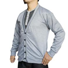 Muscle Fit Cardigan Pria V-neck Piping - Misty Abu Muda