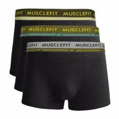 Muscle Fit Celana Dalam Pria MFBX-110 Boxer - 3 pcs - Hitam