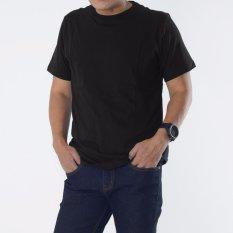 Muscle Fit Kaos Polos T-shirt O-neck Lengan pendek Cotton - Hitam