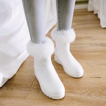 Musim dingin baru hangat beludru tebal sepatu bulu sepatu bot (Putih)