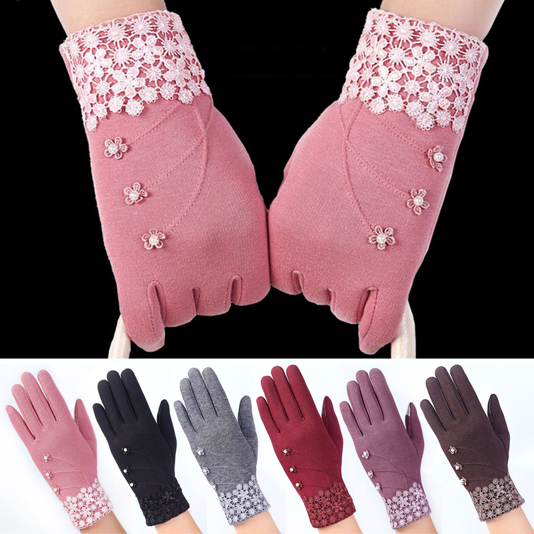 Musim dingin hangat wanita beludru sarung tangan layar sentuh untukponsel pintar dan Tablet .