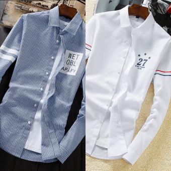 Musim gugur baru lengan panjang baju kemeja (636 biru strip + 638 putih)