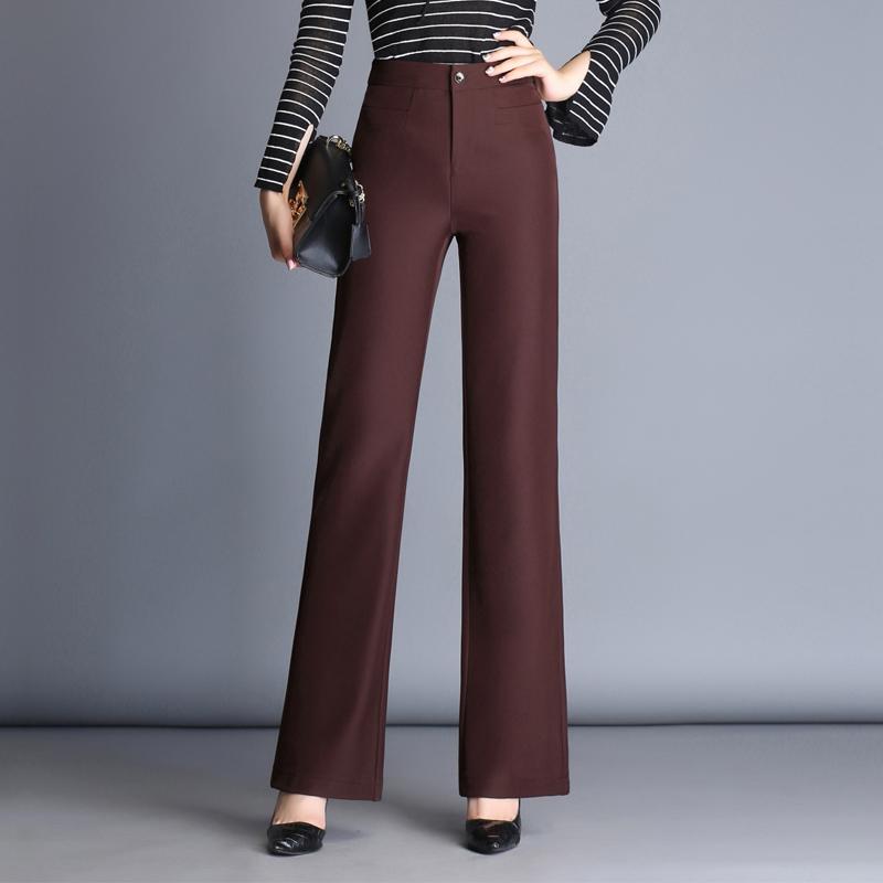 Musim gugur baru perempuan celana pinggang tinggi kaki celana yang lebar (Yang mendalam merah marun