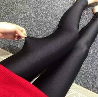Musim gugur dan musim dingin ukuran besar peregangan kebugaran kaki celana celana (Hitam [datar