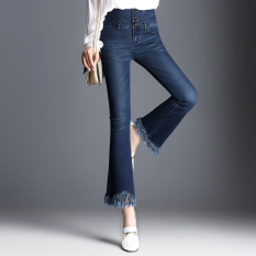 Korean-style autumn New style curling high-waisted denim pants (Biru).