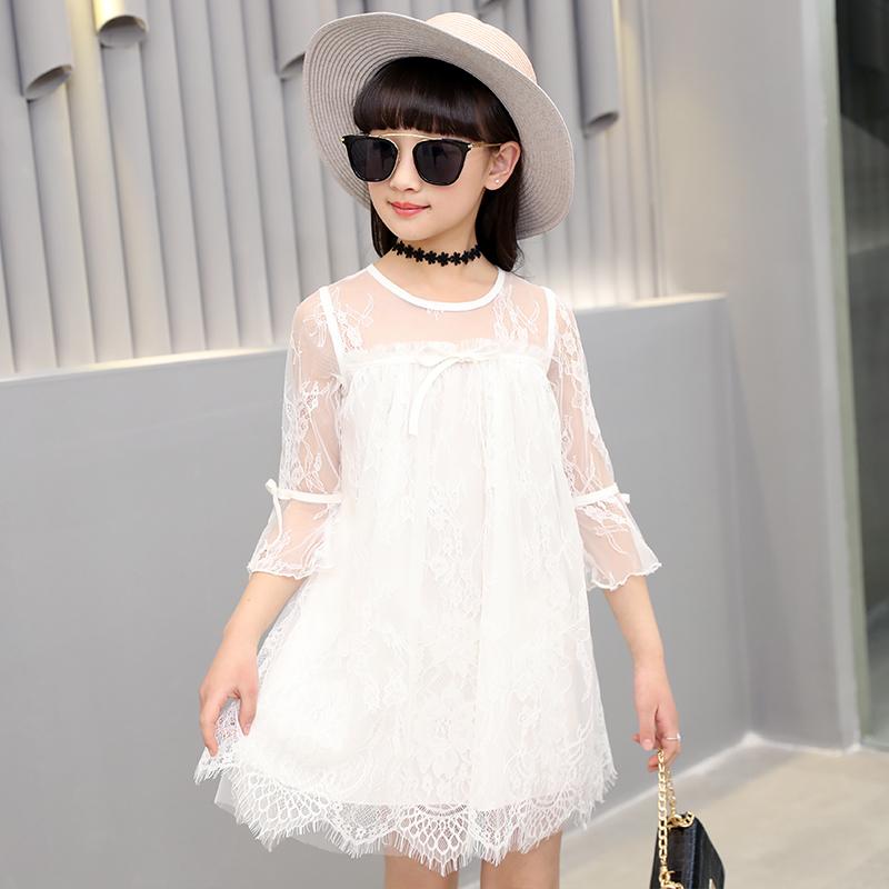 Musim panas anak-anak baru renda gaun putri gadis gaun (Putih)