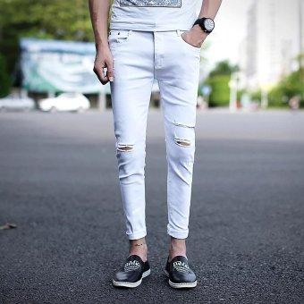 Celana Jeans Panjang Santai berlubang Pria Gaya Korea