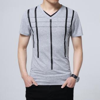 Musim panas laki-laki v-neck lengan pendek t-shirt (Abu-