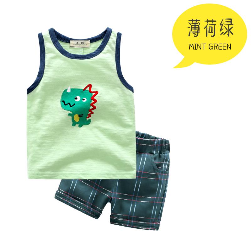 Musim panas tanpa lengan anak bayi anak laki-laki rompi (Mint hijau)