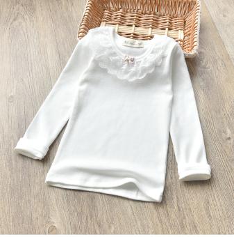 Musim Semi atau Gugur Baru Children Tipis Katun Atasan Lengan Panjang Bottoming Kemeja (Putih)