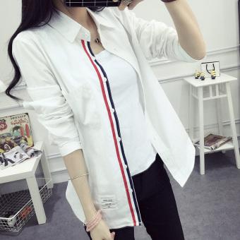 Versi Korea perempuan tipis longgar lengan panjang putih kemeja katun kemeja (Putih-saku rok