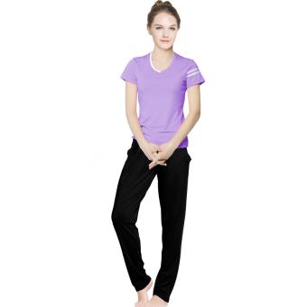 Beli Musim semi dan musim panas perempuan berjalan pakaian yoga lengan pendek (Ungu 113 + hitam celana harem) Terpercaya