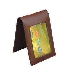 Name Tag Id Card Holder Kulit Double Magnet Coklat