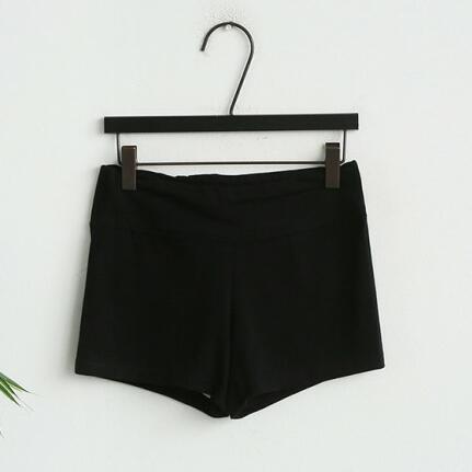 Naning N9 warna solid perempuan baru anti celana keselamatan bottoming celana (Hitam) (Hitam