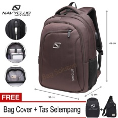Navy Club Tas Ransel Laptop - Tas Pria Tas Wanita - Backpack built in USB Charger Up to 15 inch Anti Air 62062 - Coffee (Free Bag Cover + Free Tas Selempang)