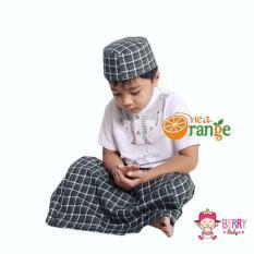 Nea Orange Set Koko Sarung Instan Peci Anak Lebaran Motif Y Hitam