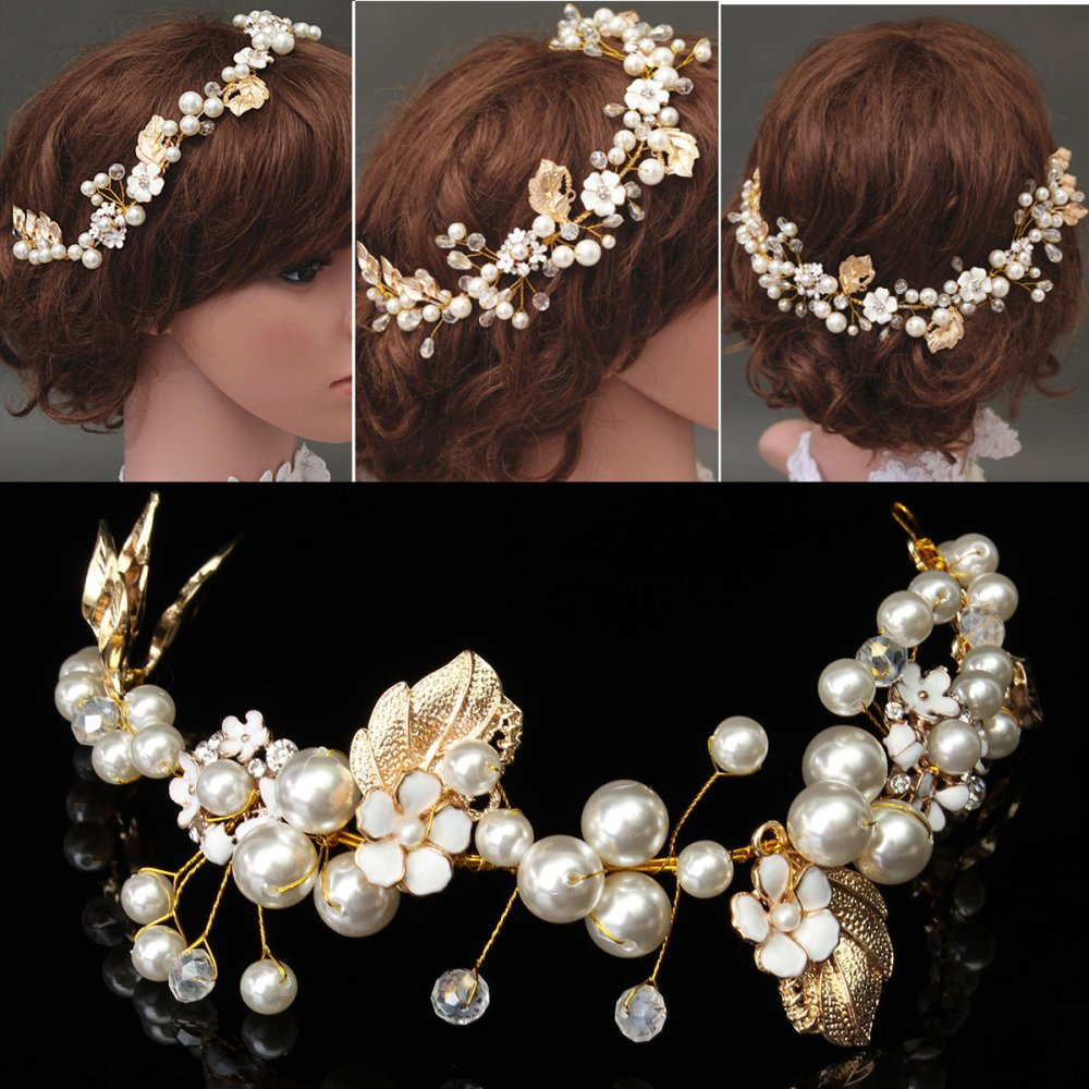New Bride Gold Headpiece Pearl Crystal Hair Accessory Wedding Party Hair Jewelry Gold .
