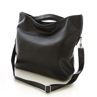 New Casual Tote Fashion PU Leather Women Handbags Simple AndGenerous Bag Large Capacity Handbag Business Bag - BLACK - Intl