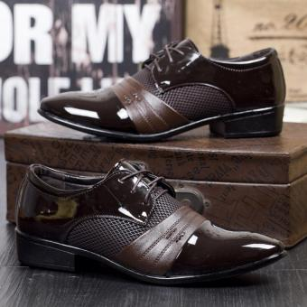 New Mens Oxford Shoes Fashion Dress Leather Shoes Casual Business Shoes Breathable Leather Shoes Brown