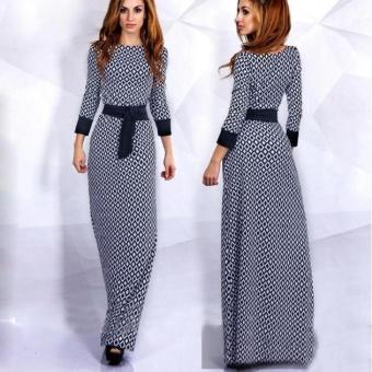 Gaya Baru Fashion Bohemian Kisi Pakaian Lantai-panjang Long Dress Muslim Terbaru Leher O Lengan