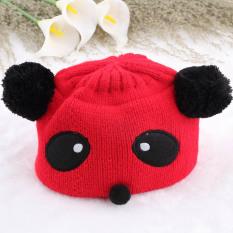 New Warna-Warni Bayi Perempuan Nak Anak Panda Hat Topi Musim Dingin Hangat Rajutan Renda Merah