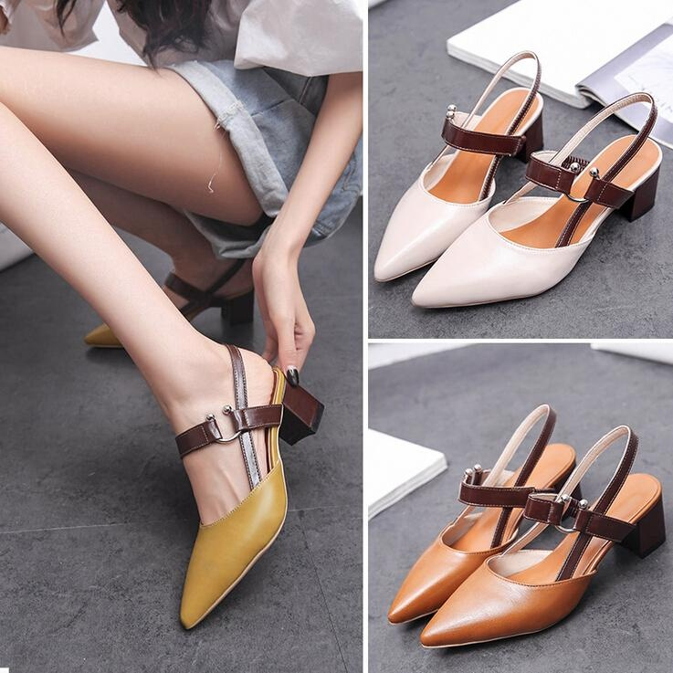 New Women s PU Leather Pointed Toe Block Low Heels Strap OL Formal Shoes  Sandals D189 Color 4792747492