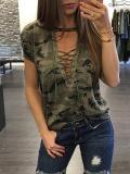 Baru Wanita Ladies Musim Panas Pendek Lengan Longgar Blus Casual Shirt Tops T-Shirt Hijau Tentara-Internasional - 2