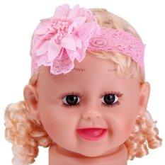 Nfant Bayi Gadis Renda Bunga Headband Bayi Yang Baru Lahir Rambut Band Kids Aksesoris Rambut Pink-Intl