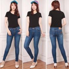 Nusantara Jeans - Celana Panjang Wanita Model Skinny Street Berbahan Soft Jeans Bagus Murah Jahitan Rapi - Biru Wash