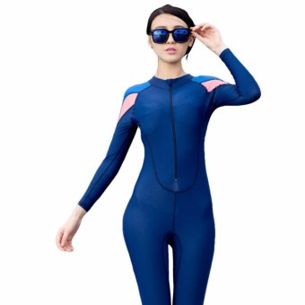 Ocean Unisex conjoined Diving suit Prevent bask in clothes (Blue) -intl