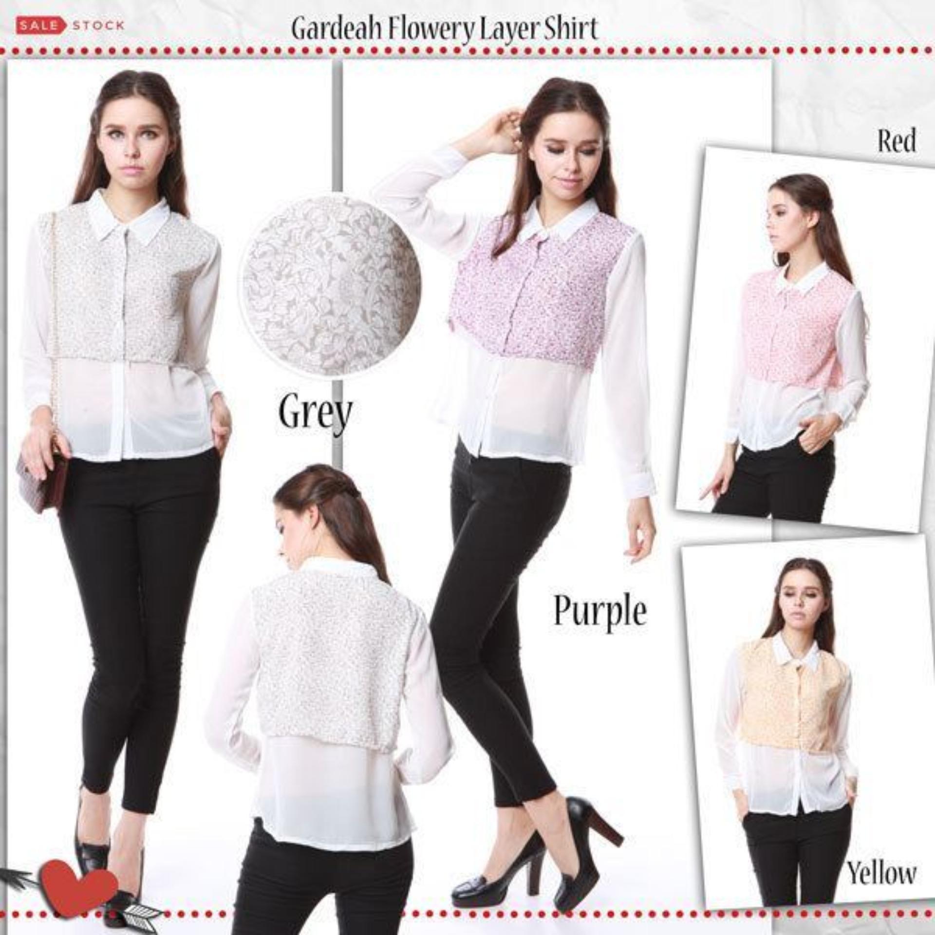 Omah Fesyen Gardeah Flowery Layer Shirt - Grey Int:L
