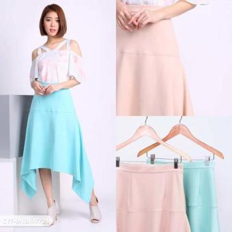 Omah Fesyen Maurelly Plain Assymetric Midi Skirt - Turquoise Int:One size
