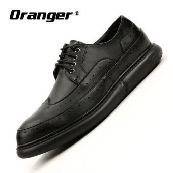 Oranger Berkualitas Tinggi Kulit Asli Alas Kaki Kasual Pria Sepatu Brogues  Bullock Bisnis Pria Oxfords Sepatu 390d82ffa8