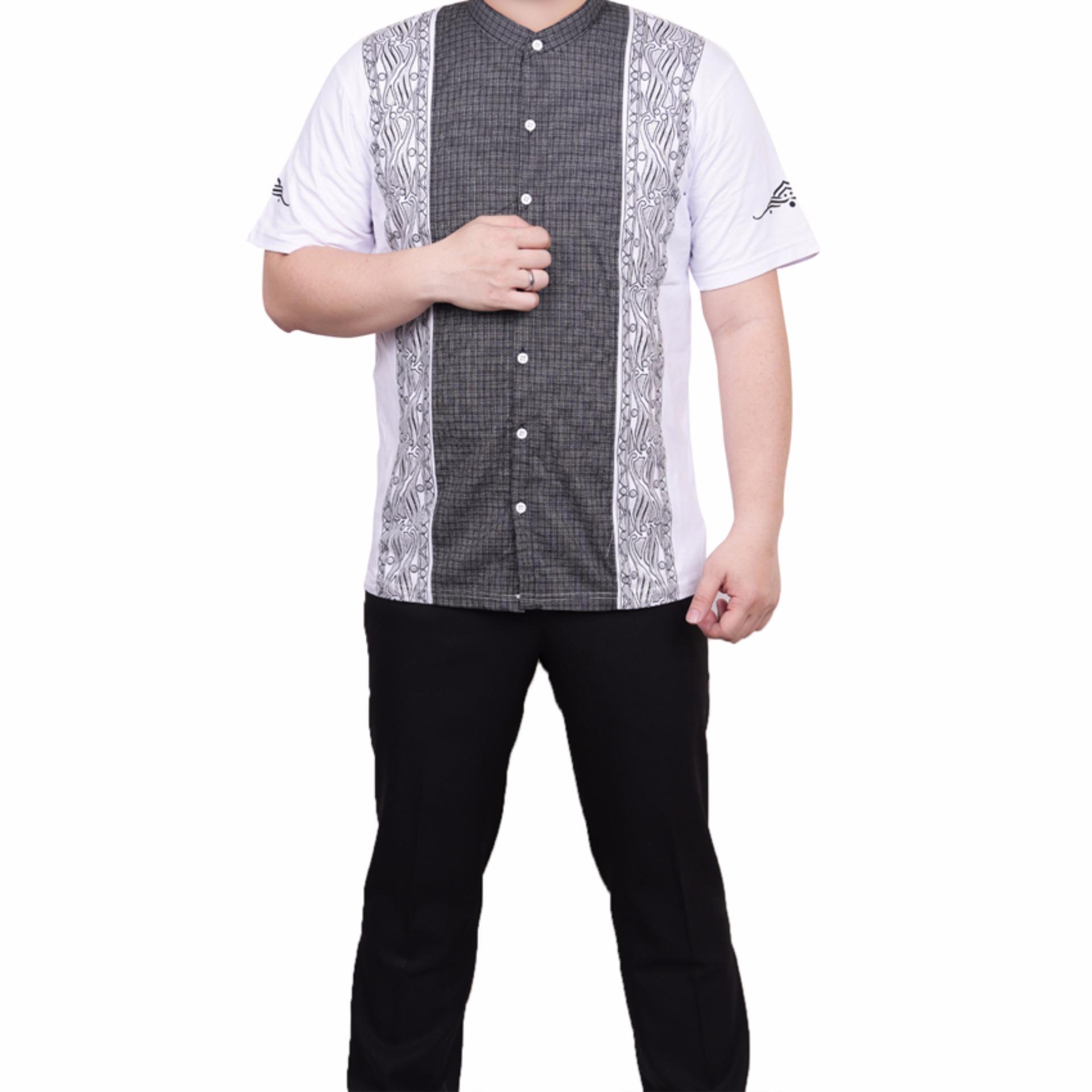 Ormano Baju Koko Muslim Batik Lengan Pendek Lebaran ZO17 KK51 Kemeja Fashion Pria - Putih .