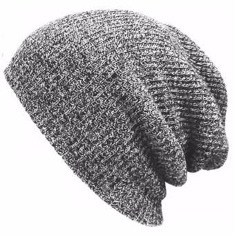 Ormano Topi Kupluk Ski Baggy Knitted Beanie Rajut - Abu