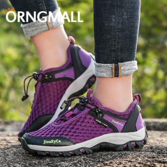 ORNGMALL Sepatu Hiking Wanita untuk Wanita Luar Ruangan Berjalan Sport  Kasual bernapas Mesh Sepatu Trekking Camping 6c9385c64d