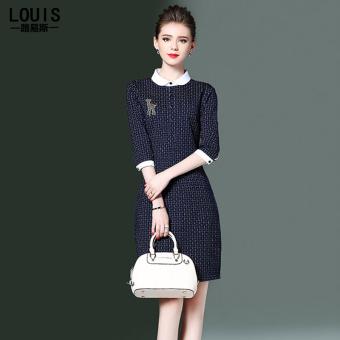 Ouzhouzhan baru boneka kerah memukul warna gaun (Biru tua)