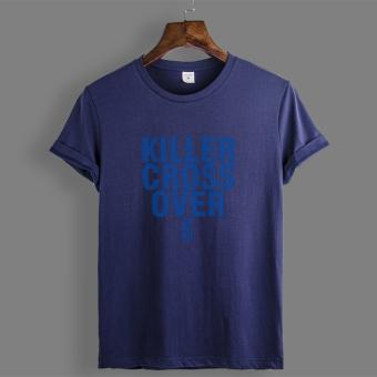 Gambar Owen katun dicetak pria lengan pendek leher bulat t shirt (Biru tua K3)