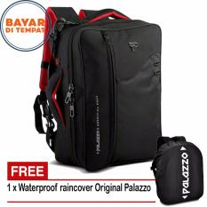 Palazzo Tas Ransel Triple Fungsi 34685 Tas Laptop Tas Jinjing Tas Selempang - Black + Raincover