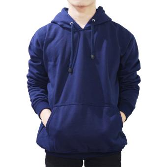 Palemo Jaket Sweater Polos Hoodie Jumper Biru Navy -Unisex