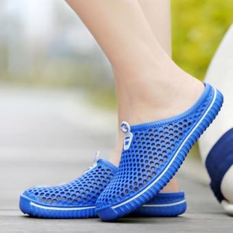 Pantai tergelincir set kaki setengah sandal sepatu kasual besar sepatu ukuran (Biru NAVY)